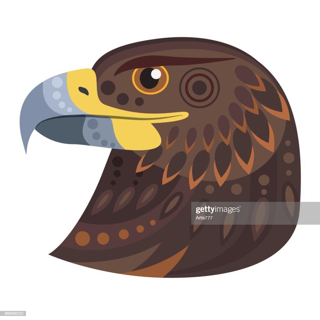 Dark eagle head icon. Vector decorative Emblem.