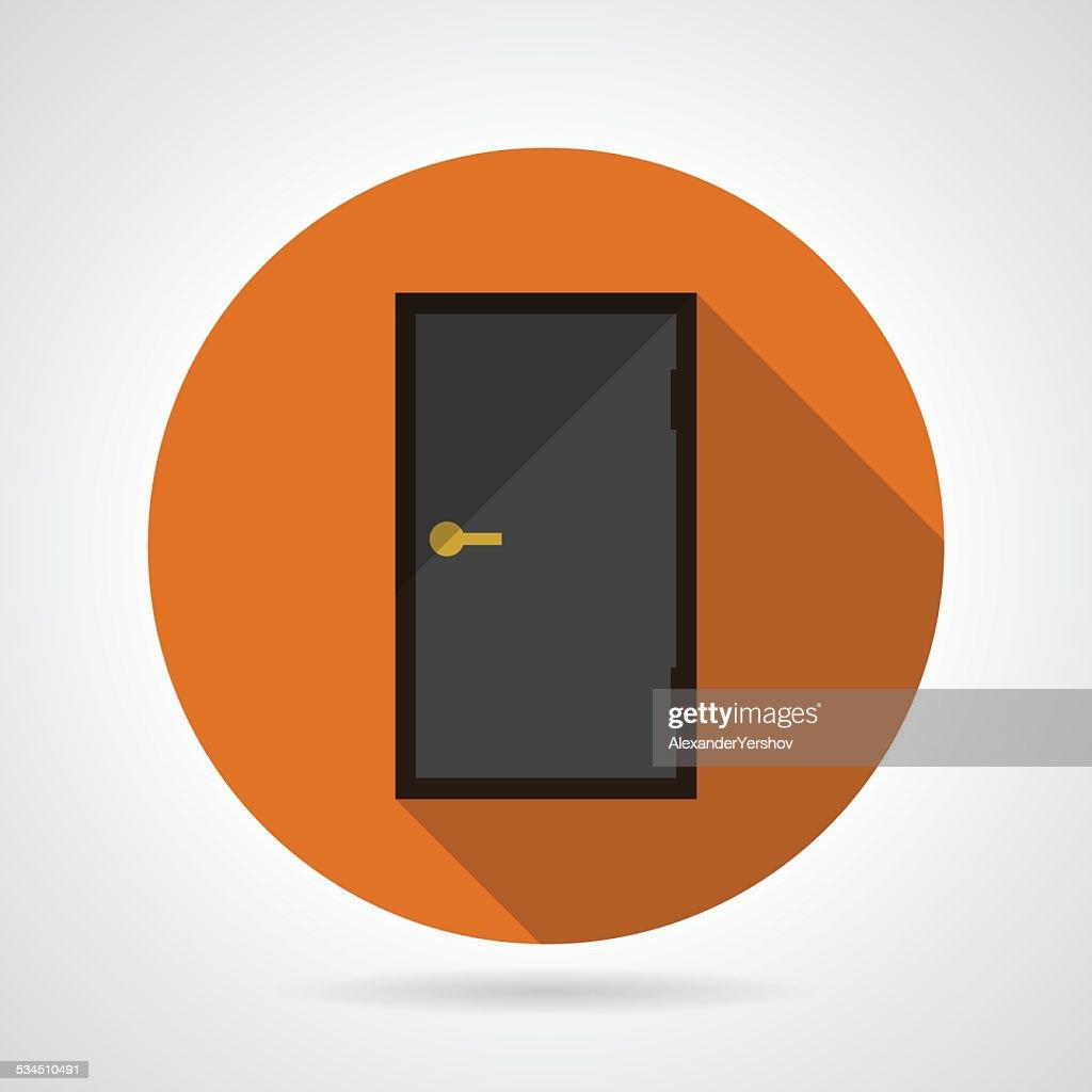 Dark gray door conceptual flat vector icon