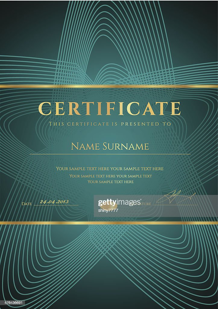 Dark green Certificate / Diploma template. Award background design (pattern, frame)