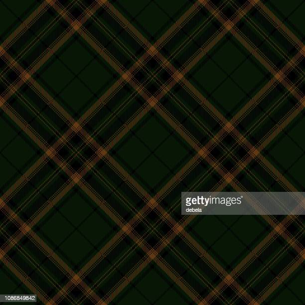 dark green scottish tartan plaid textile pattern - tartan stock illustrations