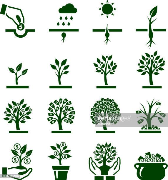 dark green vector icons of money growing on trees - american one dollar bill stock illustrations, clip art, cartoons, & icons