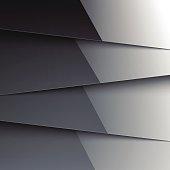 Dark grey shiny metallic layers abstract background