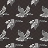 Dark grey vector seamless pattern with flying ducks