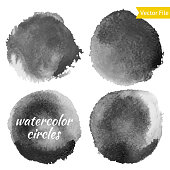 Dark Grey Watercolor Vector Circles Set
