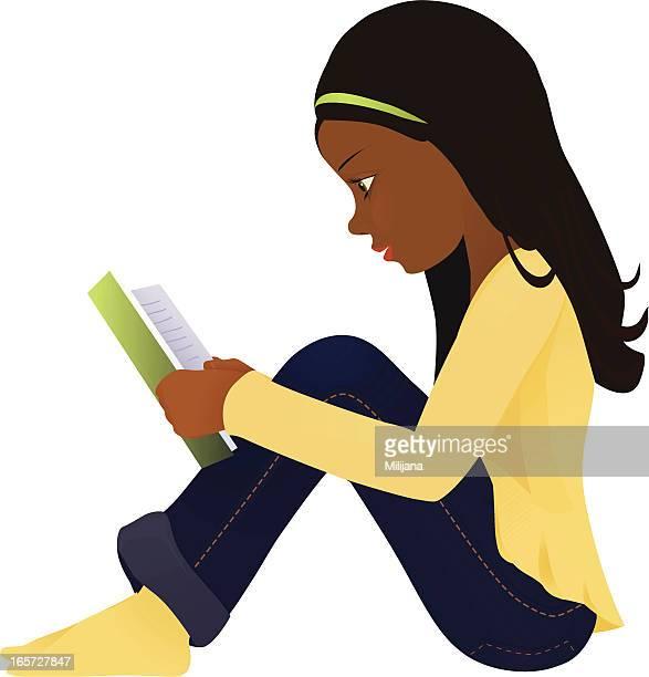 illustrations, cliparts, dessins animés et icônes de cheveux foncés fille avec un livre - petites filles