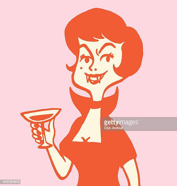 dark haired woman holding cocktail - goth stock illustrations, clip art, cartoons, & icons