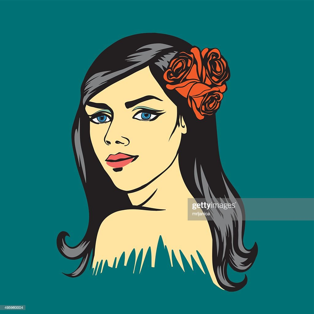 Dark haired Woman with roses - retro style illustration