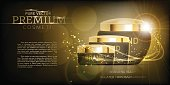 Dark Luxury cosmetic packaging collection with gold cap and blank space for your design isolated vector illustration
