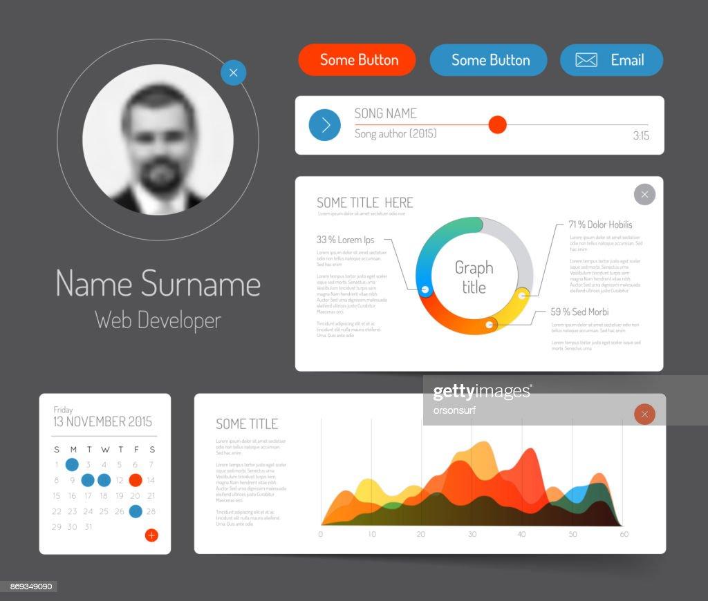 Dark minimalist infographic dashboard template