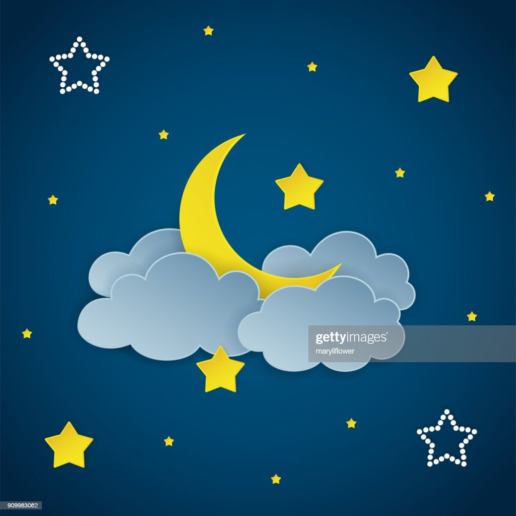Dark night sky background with clouds, stars and crescent moon. Vector Illustration.