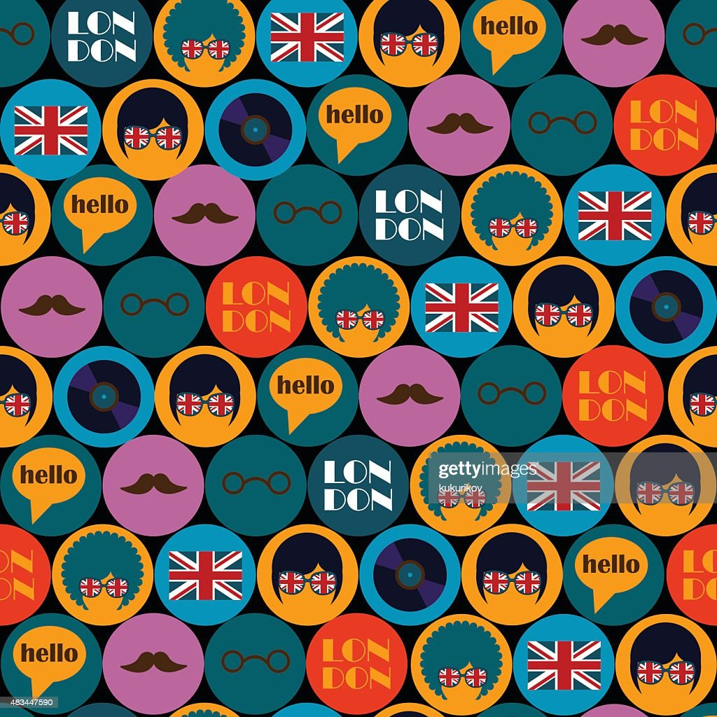 dark pop art english pattern