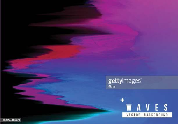 Dark Purple Waves Digital Glitch Abstract Grunge Background