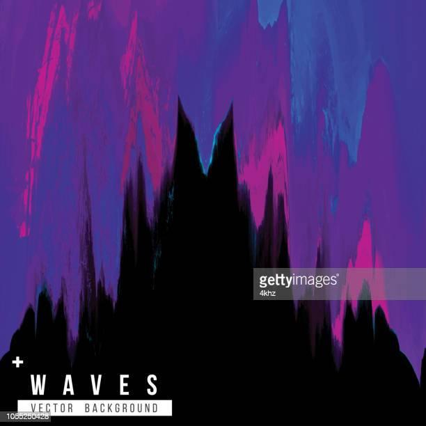 dark purple waves digital glitch abstract grunge background - synthpop stock illustrations