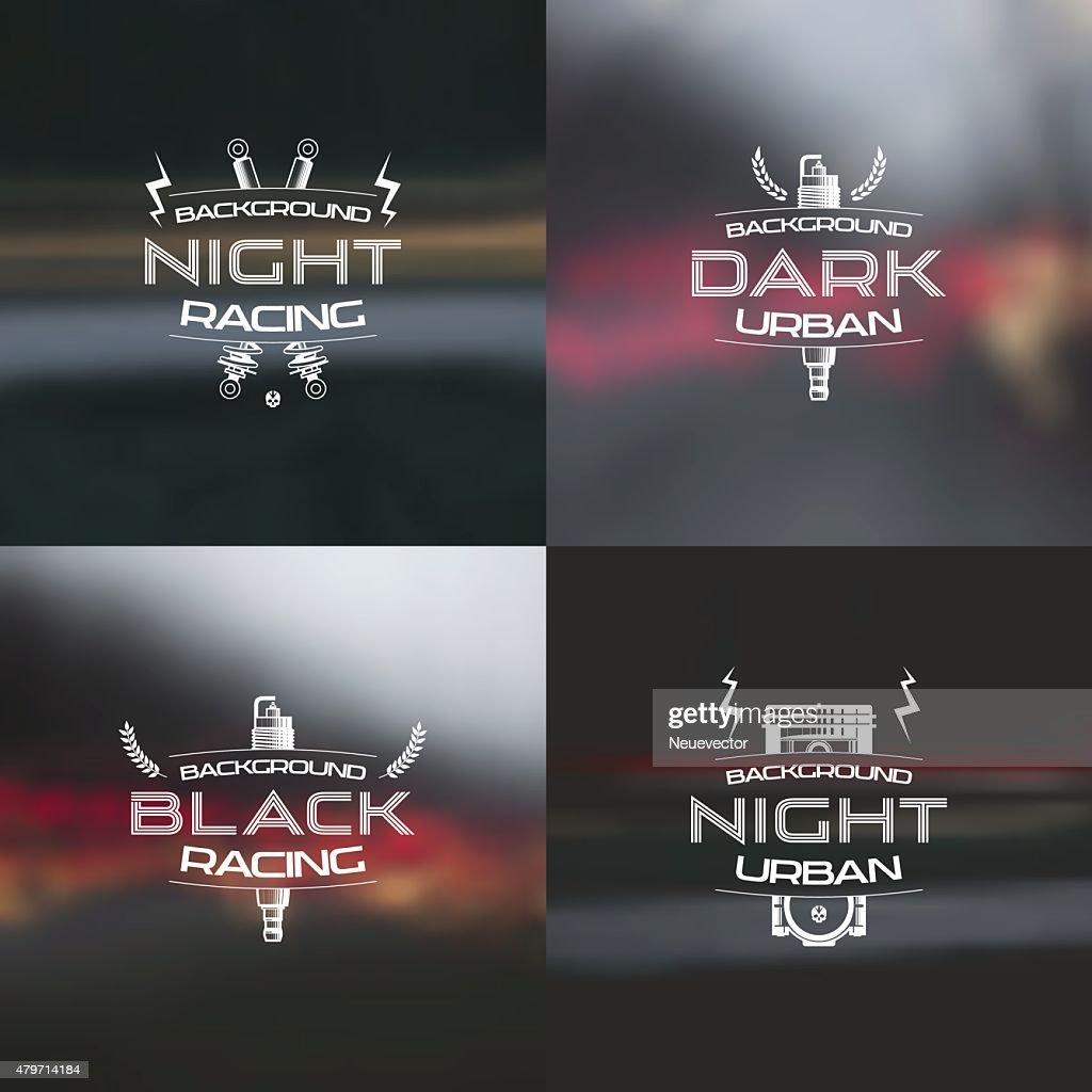 Dark racing urban blurred background