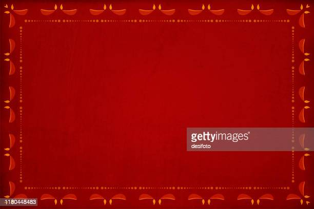 dark red grunge background with a pattern of row of dots and candle diyas border - diwali stock illustrations