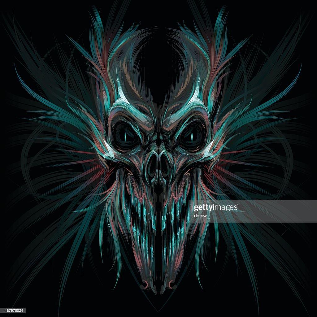 Dark screaming skull