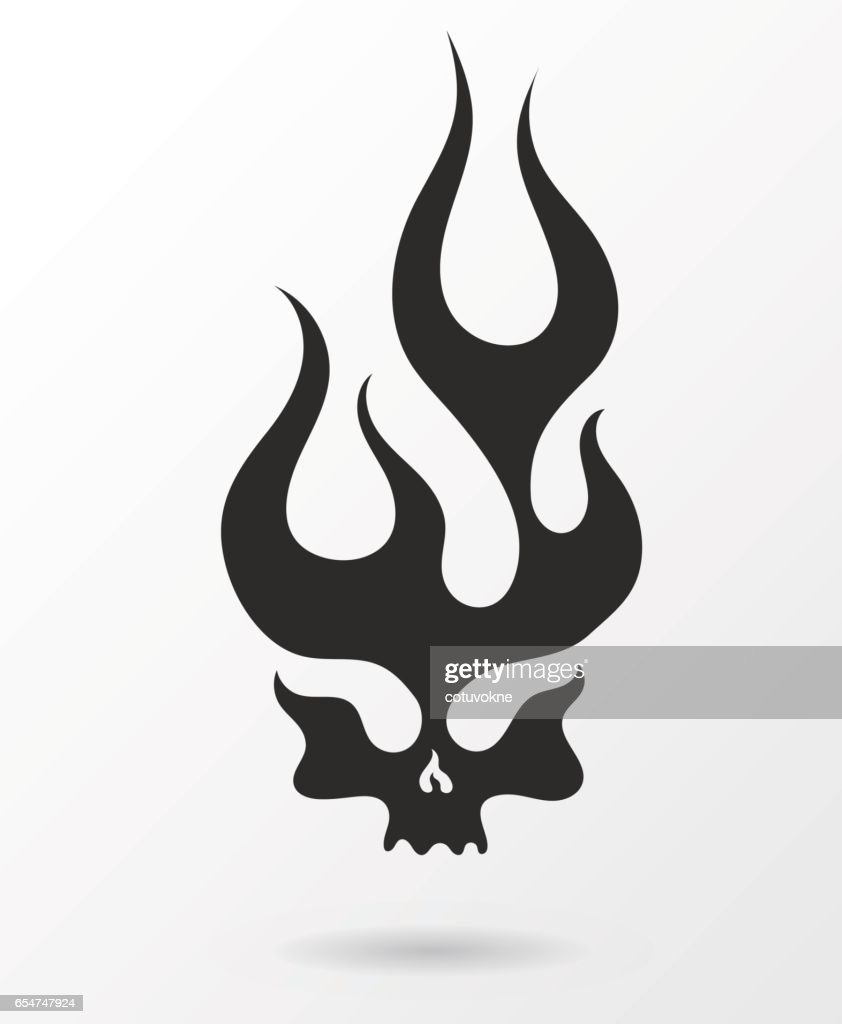 Dark silhouette flaming skull