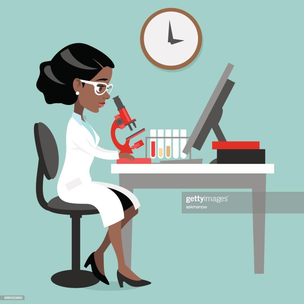 Dark skin woman doctor or scientist