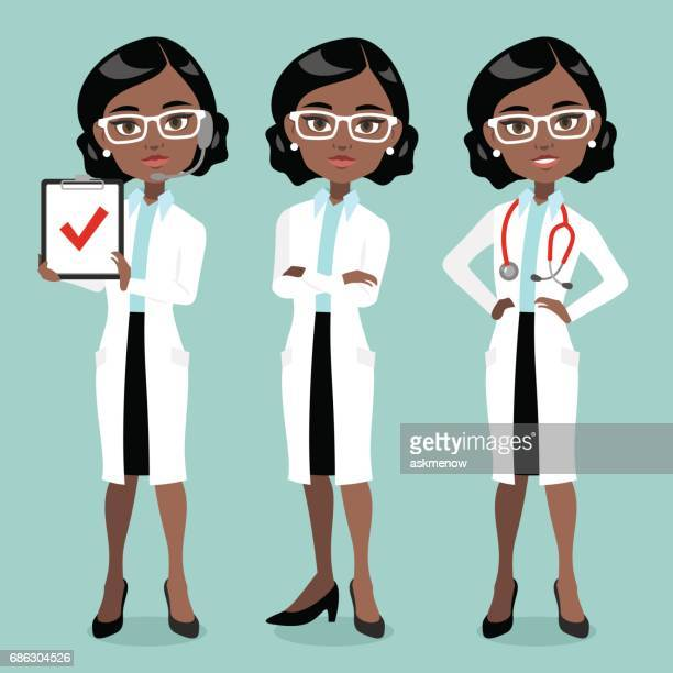 Dark skin woman doctor or scientist