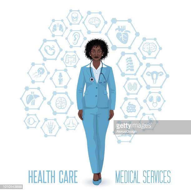dark skin woman doctor - neurosurgery stock illustrations, clip art, cartoons, & icons