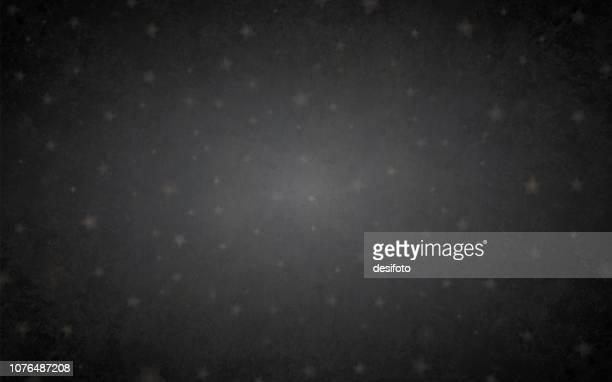 暗黒星明かりの夜、黒灰色グランジ背景パーティを恒星のベクトル イラスト。星は、明るい灰色のトーンの非常にかすかな色