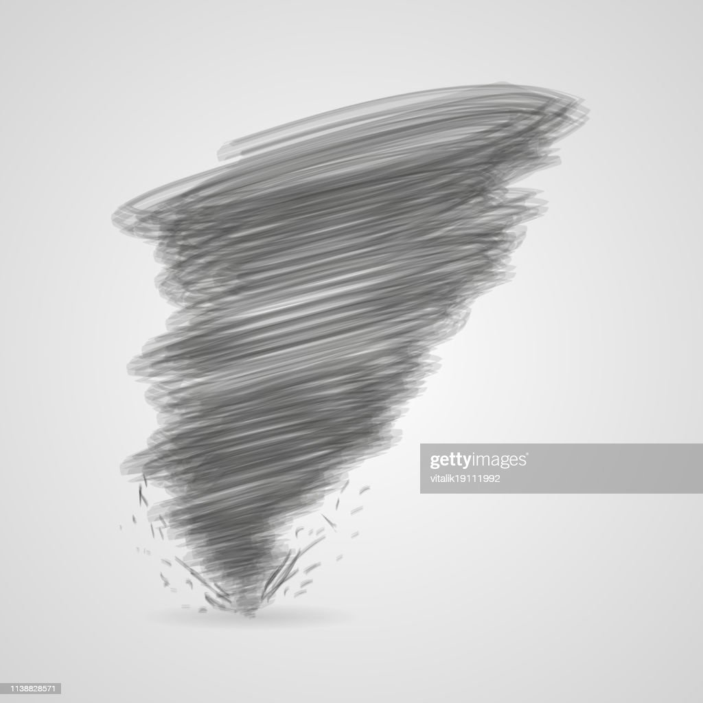 Dark tornado with shadow on a gray background