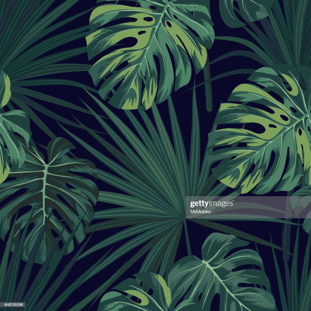Dark tropical background with jungle plants. Seamless vector tropical pattern with green sabal palm and monstera leaves