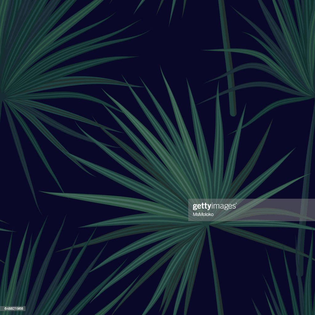 Dark tropical background with jungle plants. Seamless vector tropical pattern with green phoenix palm leaves. Vector illustration