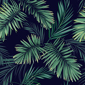 Dark tropical background with jungle plants. Seamless vector tropical pattern with green phoenix palm leaves