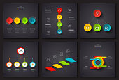Dark vector elements for infographic. Template for diagram, graph, presentation and chart. Business concept with 3, 4 and 5 options, parts, steps or processes. Data visualization.