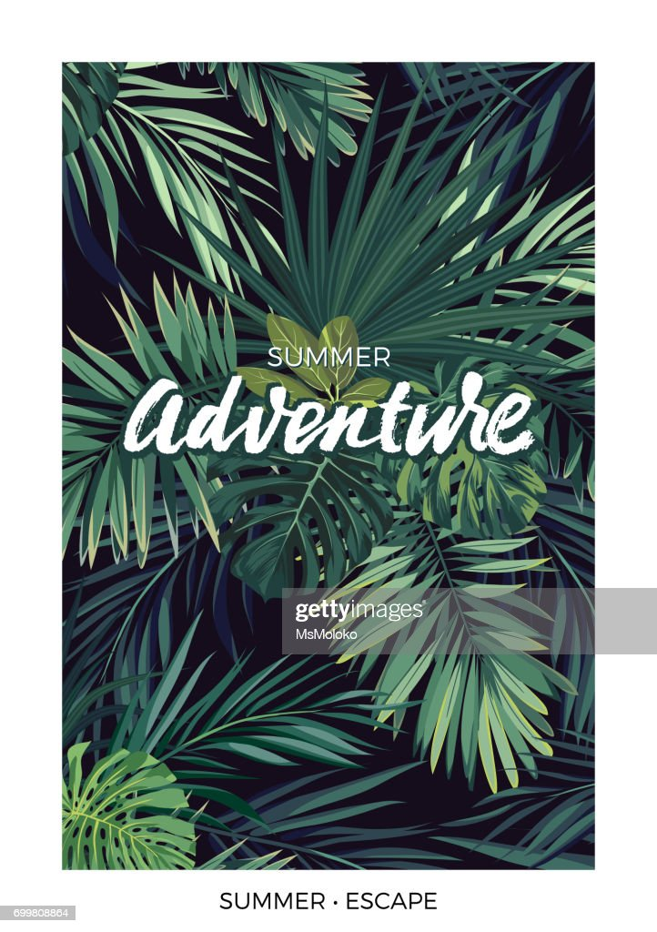 Dark vector tropical design with green jungle palm leaves and lettering