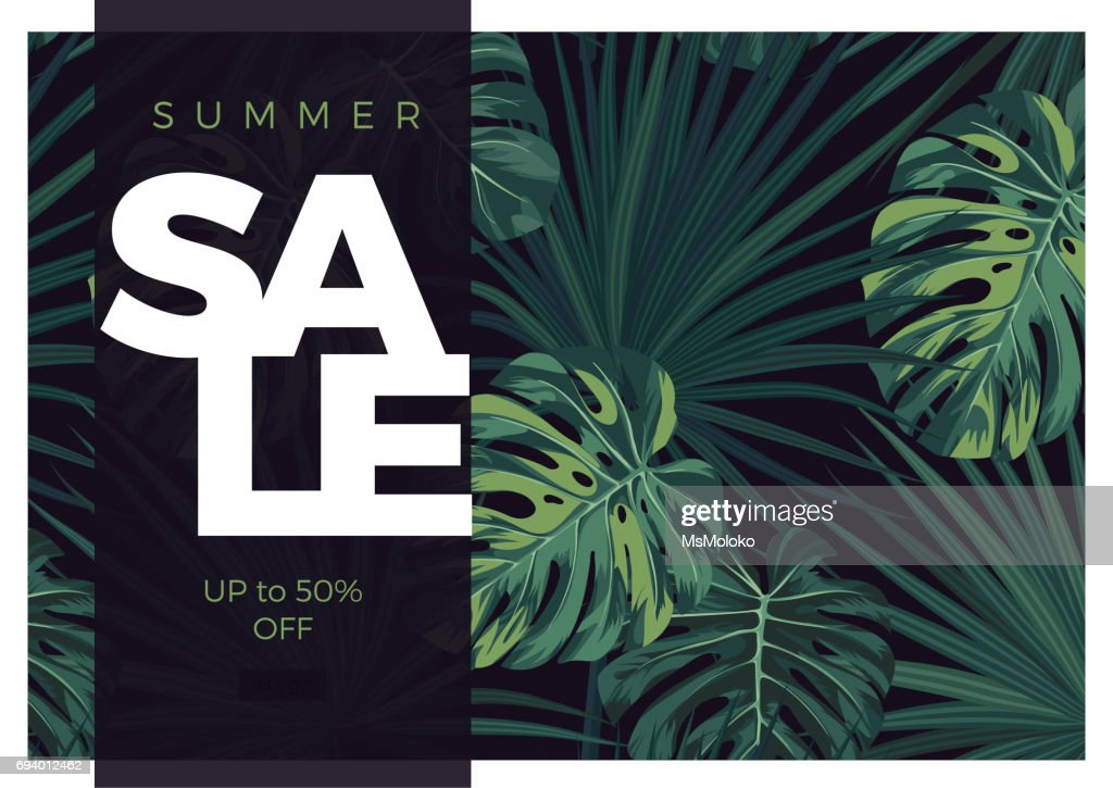 Dark vector tropical typography sale design with green jungle palm leaves