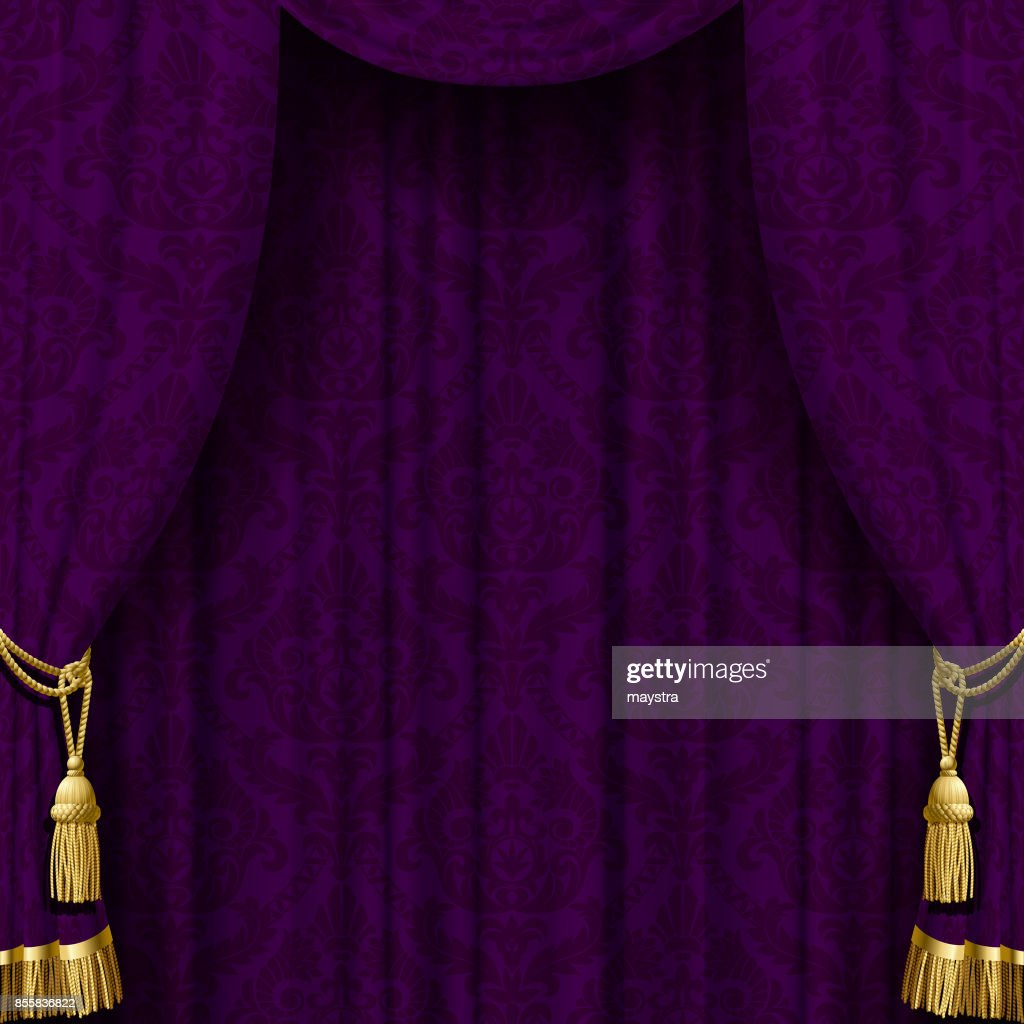 Dark violet curtain with gold tassels