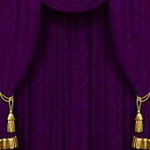 Dark violet curtain with gold tassels