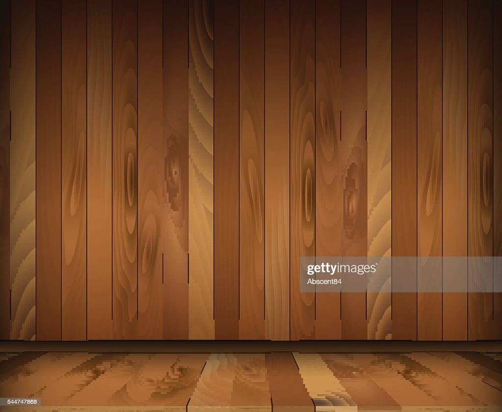Dark wooden interior room. floor and wall