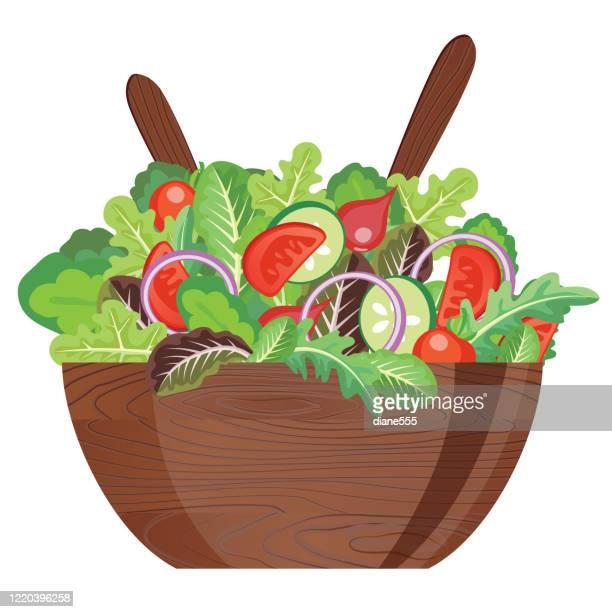 dark wooden salad bowl with utensils - salad bowl stock illustrations