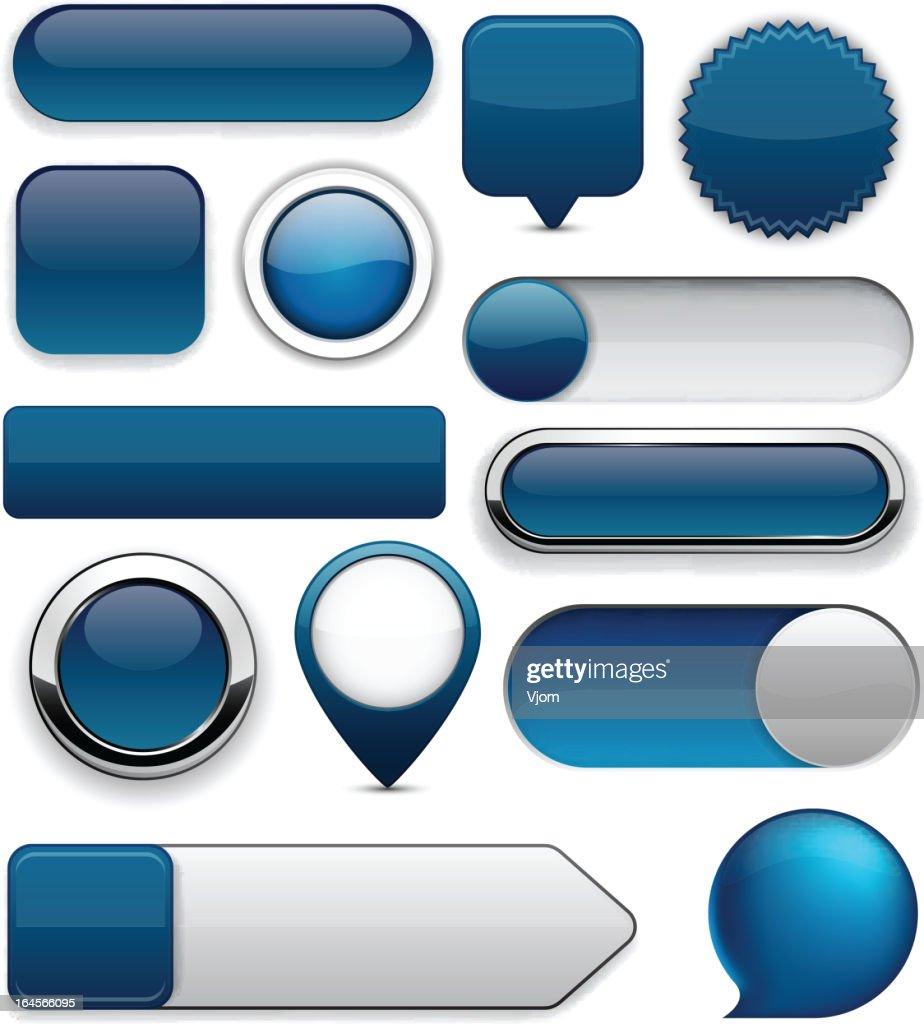 Dark-blue high-detailed modern buttons.