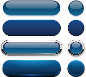 Dark-blue high-detailed modern web buttons.