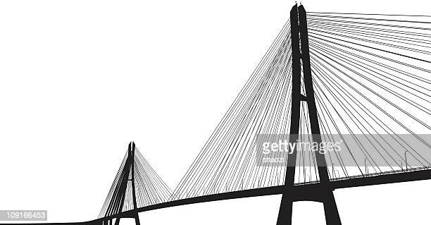 darkened bridge with many cables contrasts with white sky - bridge built structure stock illustrations, clip art, cartoons, & icons
