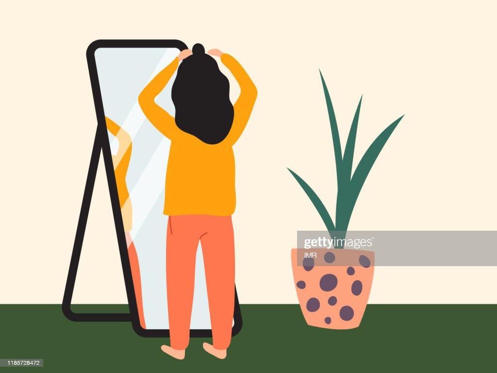 Donker harig meisje doet een halve top knoop voor een spiegel. Vrouw het dragen van comfortabele kleren thuis het krijgen van klaar om uit te gaan. Platte vector illustratie : Stockillustraties