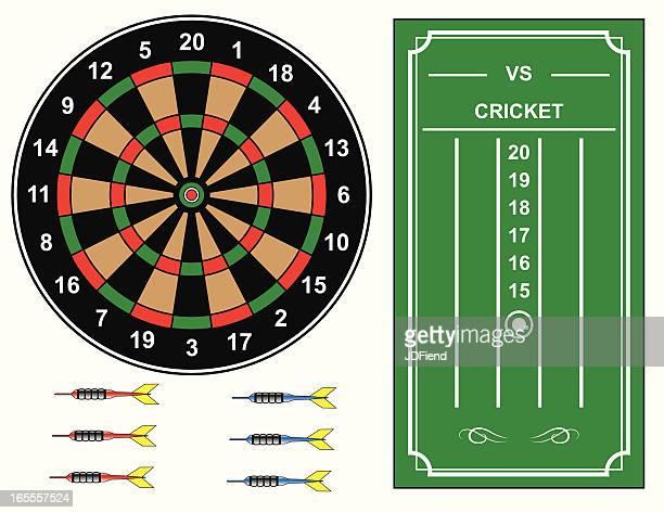 dart board with cricket scoreboard - dart stock illustrations, clip art, cartoons, & icons