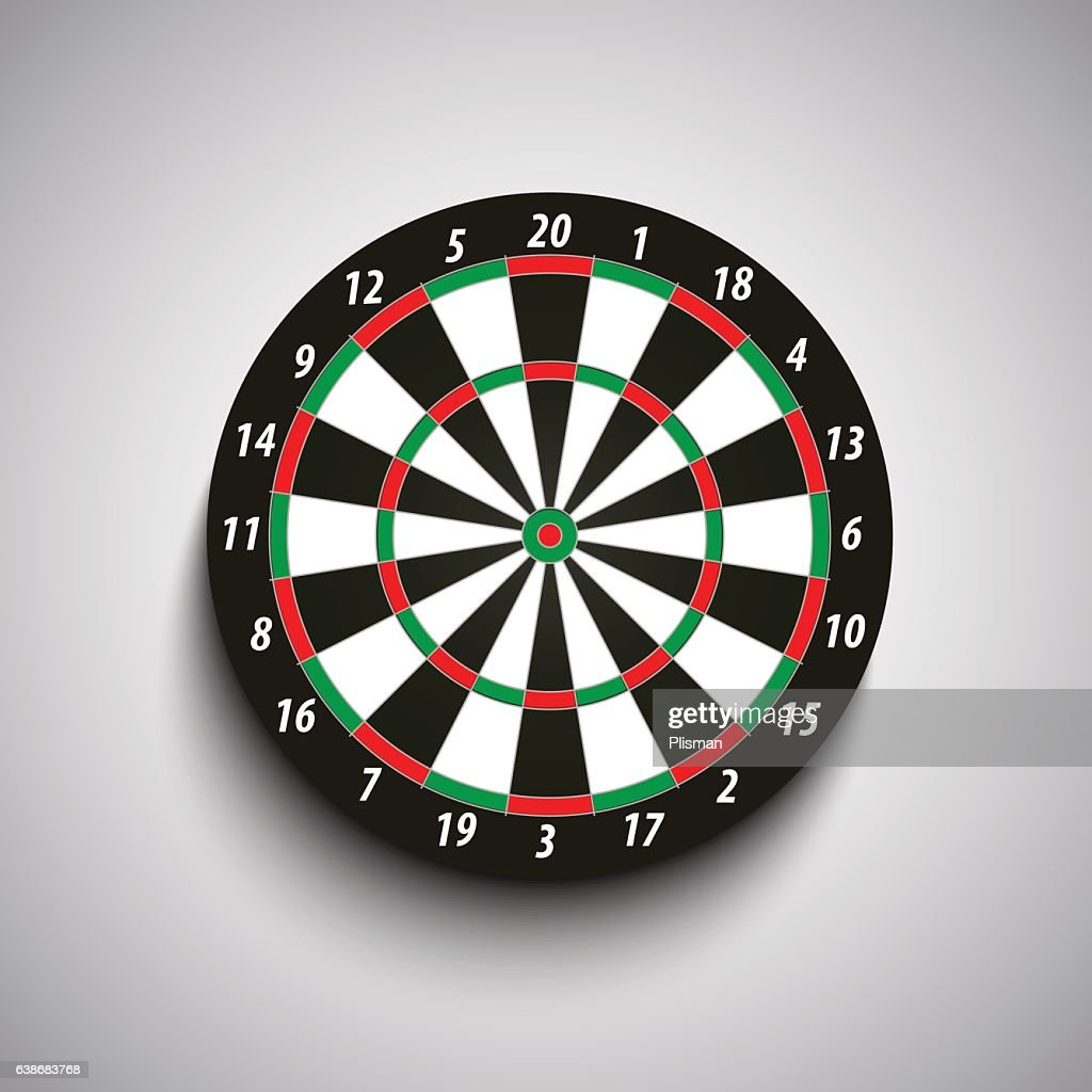 Dart board with green and red fields template