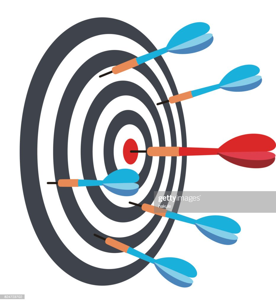 dart hit to the red point, vector illustration