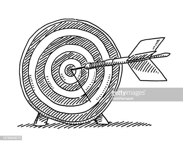 dart success target symbol drawing - dart stock illustrations, clip art, cartoons, & icons