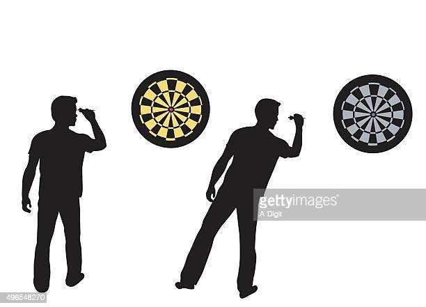 dartboard and player - dart stock illustrations, clip art, cartoons, & icons