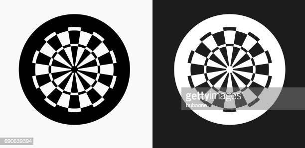 Dartboard Icon on Black and White Vector Backgrounds