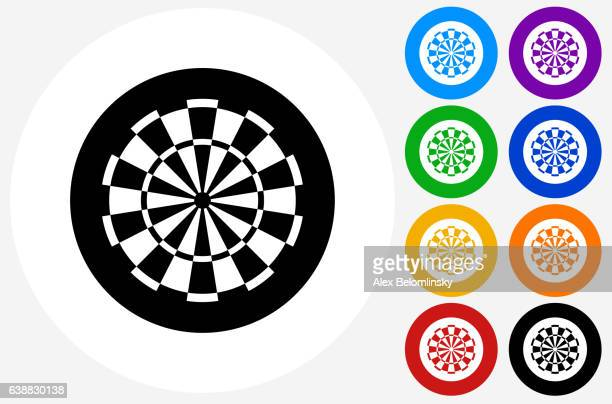 Dartboard Icon on Flat Color Circle Buttons