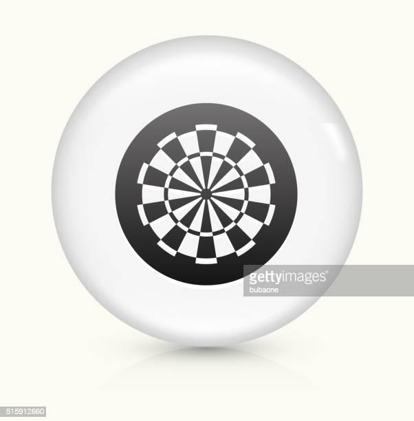 Alvo de Dardo ícone num botão de vetor arredondado branco