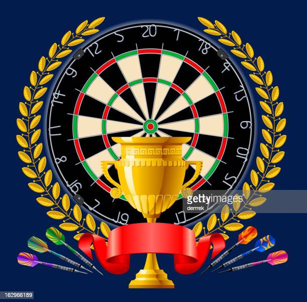 darts award cup - dart stock illustrations