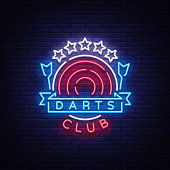 Darts Club Logo in Neon Style. Neon Sign, Bright Night Advertising, Light Banner. Vecton illustration
